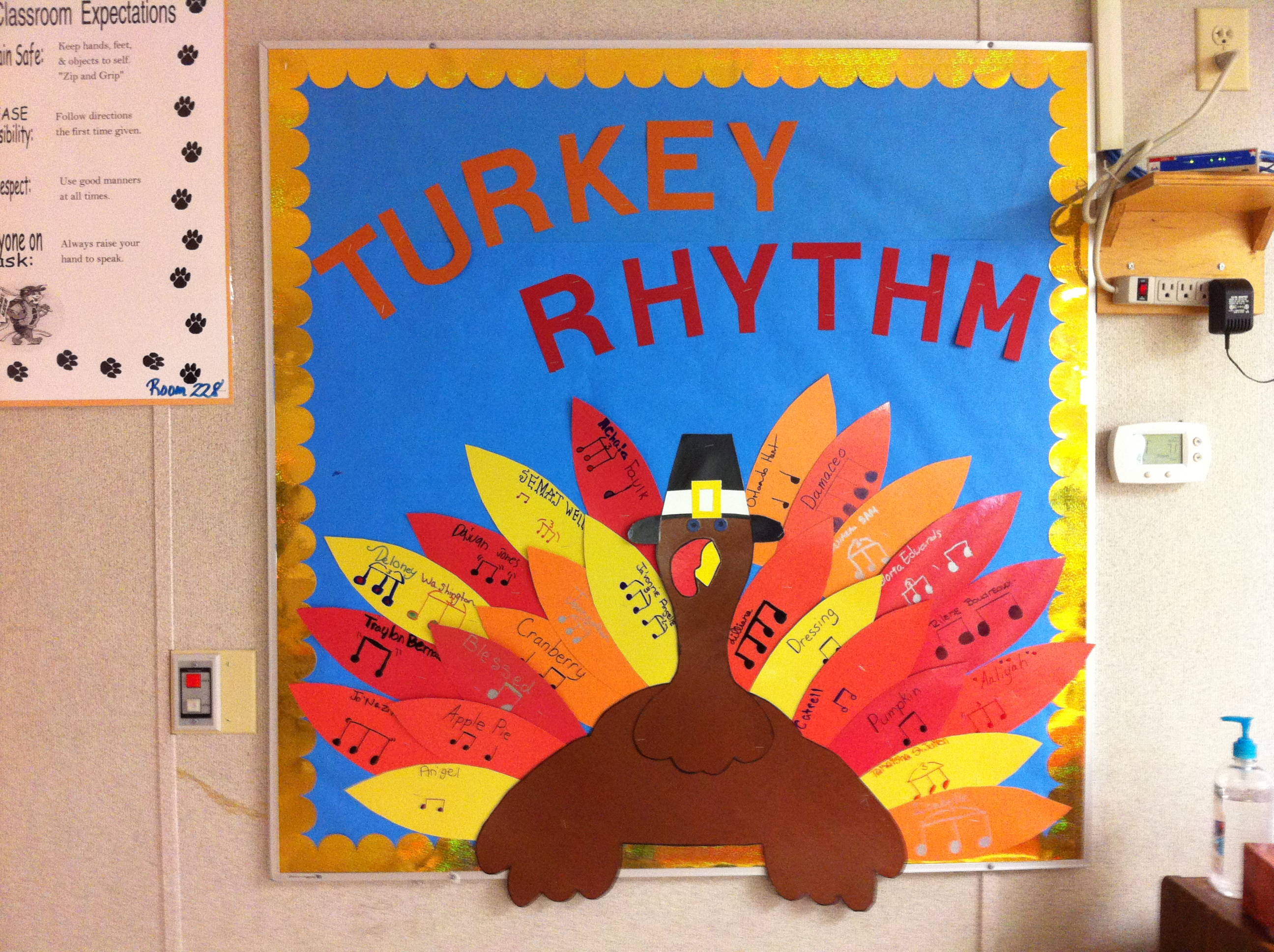 Classroom Ideas For November ~ Teachin music classroom and other shareables